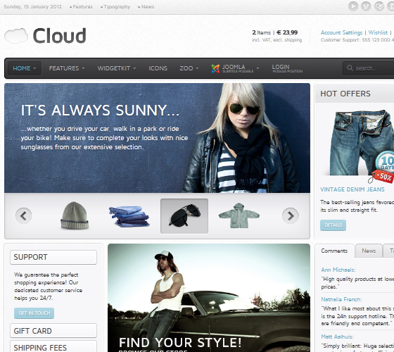Yoo Cloud шаблон для Joomla 1.5 и 1.7
